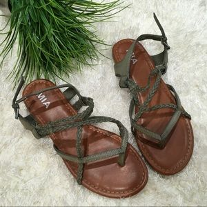 MIA Dannie Green Sandals, Braid Design, EUC Size 9